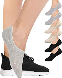 6 Pairs Invisible Socks No Show Socks for Women Casual Low Cut Socks with Non Slip Grip Liner Socks