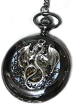 Dragon Black Pocket Watch Necklace Pendant - Steampunk Vintage Victorian Style Retro Pocketwatch Dragon charms
