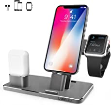 LAMEEKU Compatible Aluminum iPhone Charging Dock Replacement for Apple Watch Stand, Charger Station Holder for iPhone X 8 Plus 8 7 Plus 7 6S Plus 6, Apple Watch Series 3 2 1, AirPods, iPad, Grey