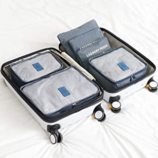 Packing Cubes Multifunctional Folding Travel Storage Bag 6 Set Travel Organizers with Zipper and Shoe Bag QDDSP (Color : E)