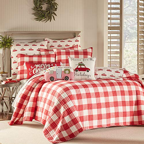 Levtex Home - Road Trip Quilt Set -Twin Quilt + One Standard Pillow Sham - Festive Farmhouse - Buffalo Check Red and White - Quilt Size (68x86in.) and Pillow Sham Size (26x20in.) - Reversible - Cotton