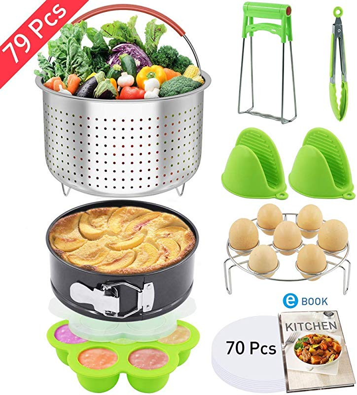 Nextamz 79 PCS Pressure Cooker Accessories Set Compatible With Instant Pot 6 8 Qt Steamer Baskets Springform Pan Egg Rack Egg Bites Mold Bowl Dish Clip Oven Mitts Electronic Recipe