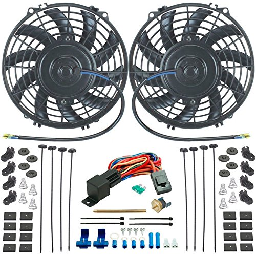 """American Volt Dual 9"""" Inch Electric 12 Volt Radiator Engine Fans Fin Probe Thermostat Switch Sensor Kit"""