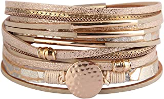 JOYMIAO Women Bracelet Multi Layer Leather Wrap Bracelets Handmade Wristband Magnet Buckle Cuff Bangle for Girls Lady