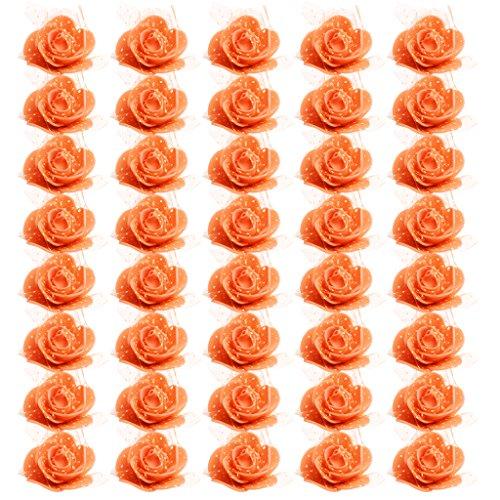 FLAMEER 50er Set Künstliche Rosenkopf Foamrosen Schaumrosen Kunstblumen Rosenköpfe Rosenblüten Streurosen Hochzeit - Orange