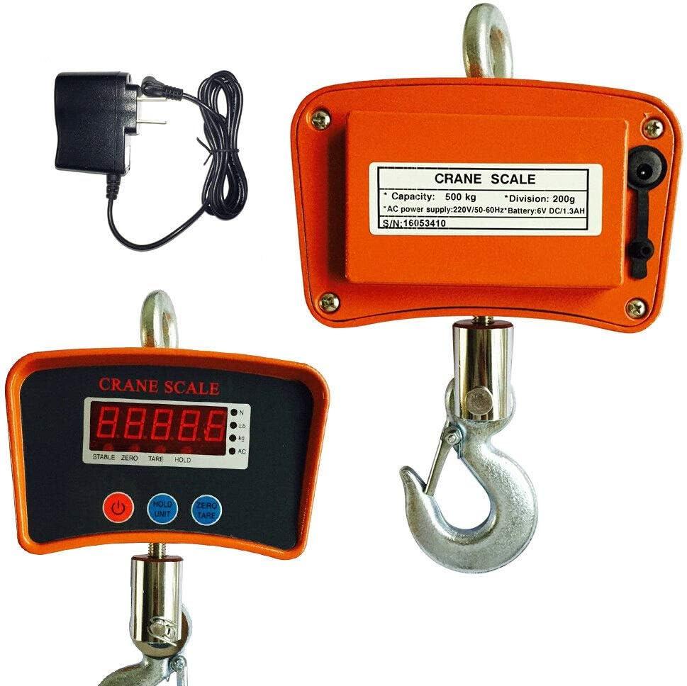 Báscula industrial de alta carga digital de 0 a 500 kg con pantalla LED.