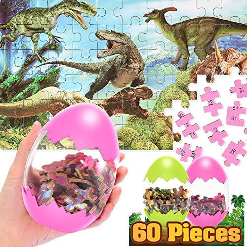 Educational Toys for 3-12 Years Boys Girls, Dinosaur Puzzle for Kids 60 Pieces Easter Christmas Eggs Kids Puzzle Dinosaur Toys Fun Gift for 4-8 Year Old Christmas Xmas Gifts Present(2 Pack)