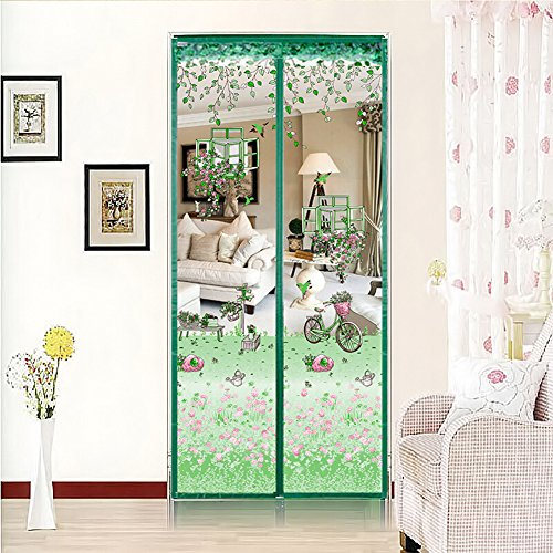 Mosquitera, cortina magnética para puertas, protector antimosquitos magnético, montaje con pegado, sin agujeros, cortina para puerta de balcón, salón, puerta corredera, terraza (100x 210cm), Verde