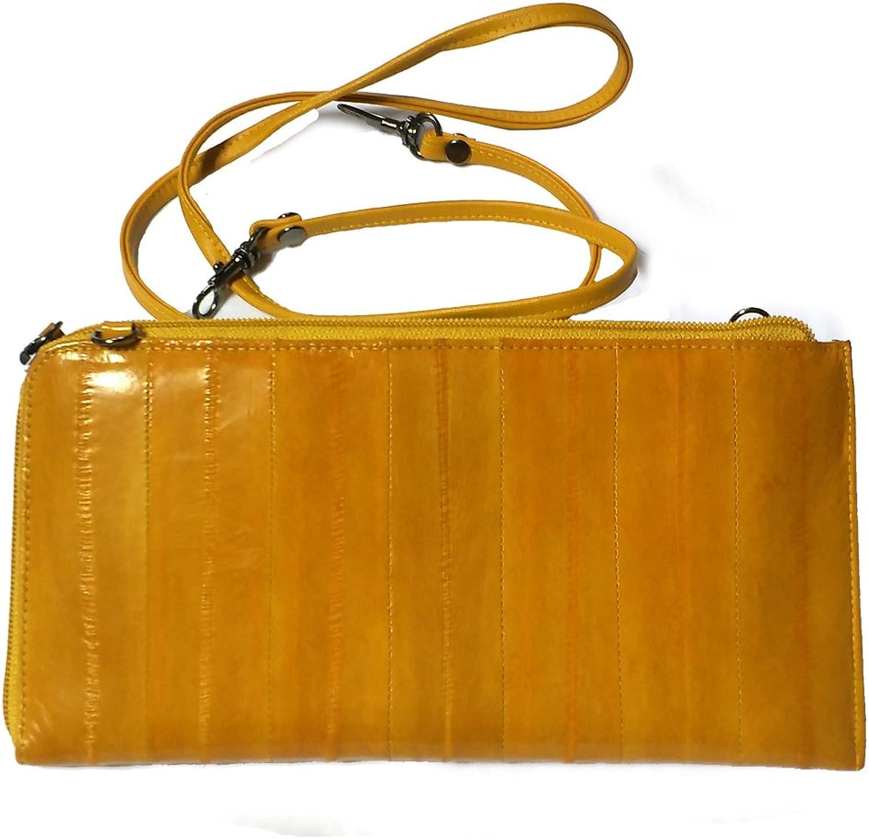 Cross Body Handbag, Removable Strap Clutch, Genuine Eelskin  orange