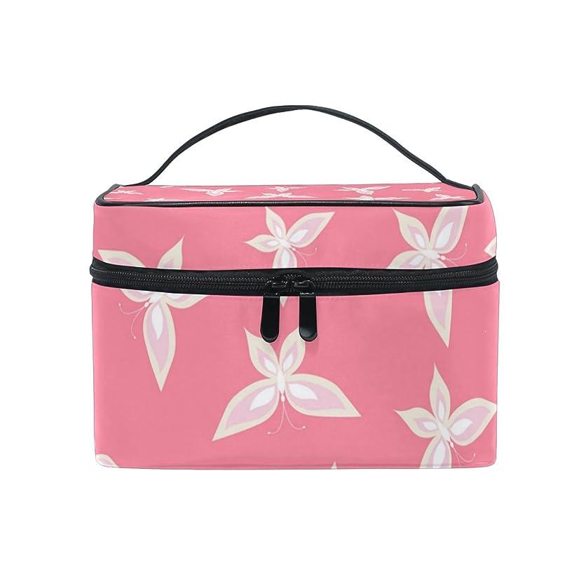 潮せせらぎ立方体ALAZA 化粧ポーチ 蝶柄 ちょう柄 化粧 メイクボックス 収納用品 ピンク 大きめ かわいい