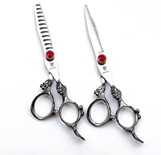 SMITH CHU Professional Hair Cutting Scissors Set - Razor Sharp Japanese 440C Stainless Steel-Hairdressing Thinning/Chunker/Texturizing Shears for Barber/Hairdresser - 6 inch with Dragon Handle