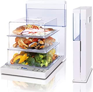 Joydeem Electric Food Steamer YN-S102, Foldable Digital Vegetable Steamer,3 Tier 18.8L Large Capacity,Auto Shut-off & Anti-dry Protection,24h Preset, White,110V
