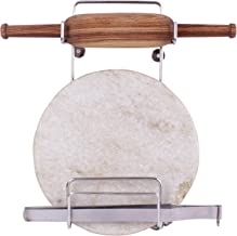 Angel Bear Steel Rolling Board & Pin Holder, Chakla Patla Belan Tawa Stand for Kitchen (Hardware Included)