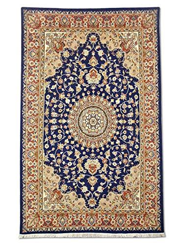 Pak Persian Rugs Handgeknüpfter Kashan Teppich, Sattes Mitternachtsblau, Wool/Art. Silk, Medium, 156 X 249 cm