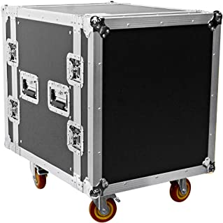 Seismic Audio - SATAC12U - Heavy Duty 12 Space ATA Rack Case with 4 Inch Casters - Pro Audio DJ Rack - 12U Server Network Case