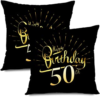 Ahawoso Set of 2 Throw Pillow Covers Square 18x18 50 50Th Font Happy Birthday Beautiful Greeting Signs Firework Symbols Business Finance Anniversary Zippered Pillowcases Home Decor Cushion Cases