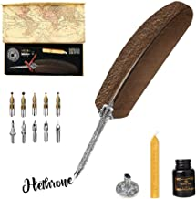 IPLETIX Writing Quill Ink Dip Pen Calligraphy Quill Pen Set with Bottle Ink &Feather Ink Pen &Wax Seal Sticks &Pen Holder&10 Replacement Nibs in Gift Box