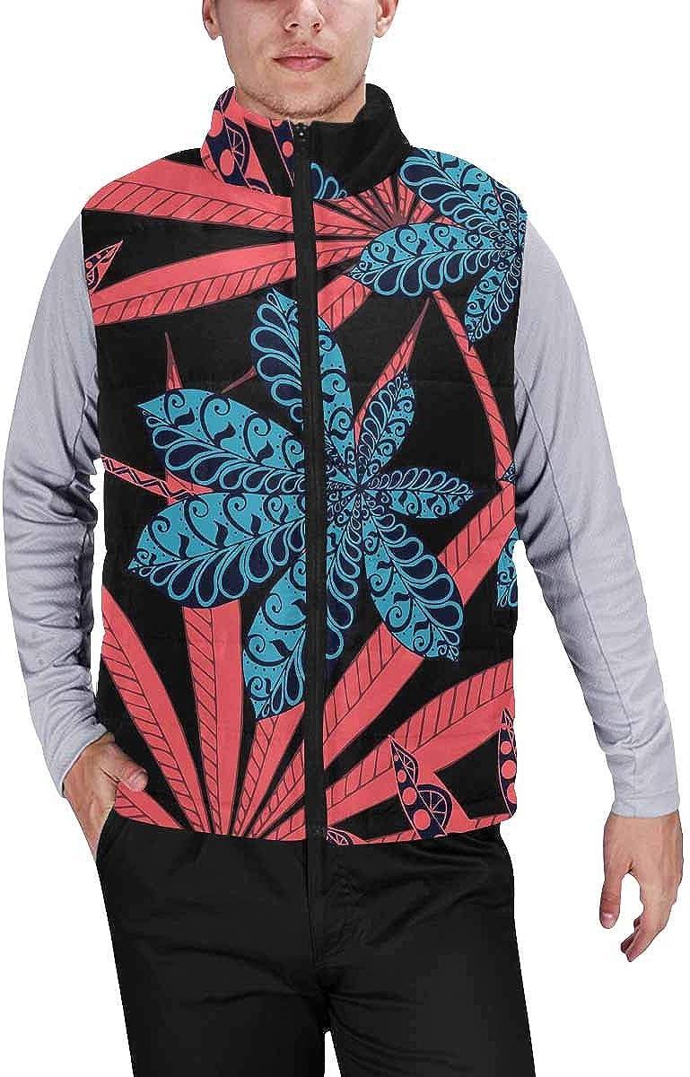 InterestPrint Men's Winter Full-Zip Outwear Padded Vest Coats Exotic Fruits Dragon Fruit and Lemon