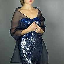 Stole donna organza scialli vestito da sposa nuziale poncho blu