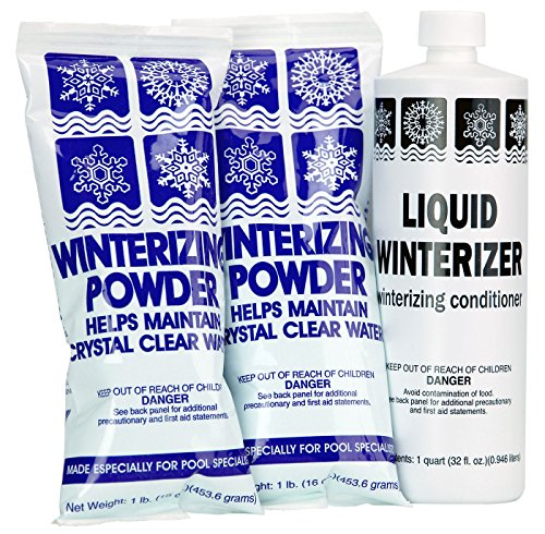Rx Clear Winter Pool Closing Kit   Non-Chlorine Winterizing Chemicals for Above or In Ground Swimming Pools   Open to a Crystal Clear Pool in The Spring   Up to 20,000 Gallons