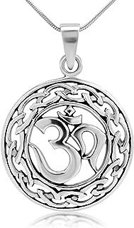 Chuvora 925 Sterling Silver Yoga, Om, Ohm, Sanskrit Celtic Filigree Weaving Pendant Necklace, 18 inches