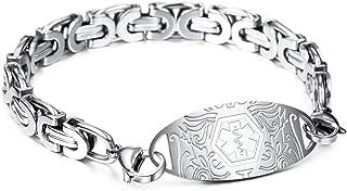 Alert Bracelet Custom Engraved, 7-9.2 Inches, Identification Allergy Life Medic Name ID for Men Women Stainless Steel Chain Bracelets - (Bundle with Emergency Card, Holder)