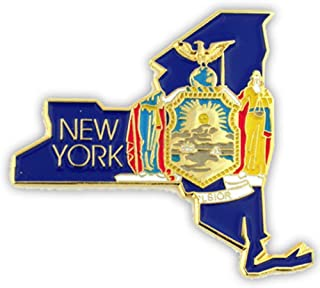 State Shape of New York and New York Flag Lapel Pin