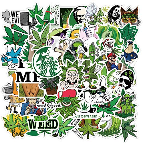 Weed Funny Stickers for Water Bottles 50pcs Fun Laptop Phone Computer Bike Skateboard Luggage Bumper Cars Graffiti Decals