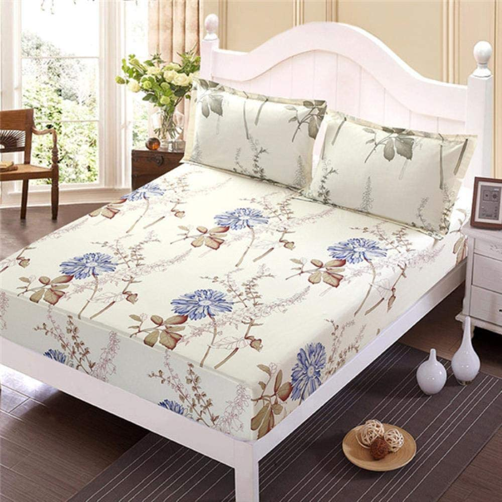 kuqi Outstanding 3pcs Bed Sheet with Line Flower Pillowcase Printed Blue Manufacturer regenerated product