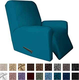 Easy-Going 4 Pieces Microfiber Stretch Recliner Slipcover – Spandex Soft Fitted Sofa Couch Cover, Washable Furniture Protector with Elastic Bottom Kids,Pet (Recliner, Peacock Blue)