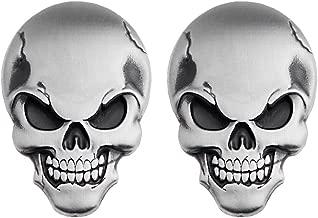 Astra Depot Chrome Silver 3D Skull Demon Bone Emblem Decal Sticker Fairing Fender + 3M Adhesive Motorcycle Car SUV Pickup Truck (2 pcs)