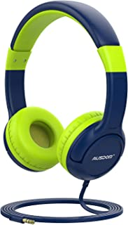 AUSDOM K1 Kids Headphones, On-Ear Wired Headphones for Children Baby with 85dB Volume Limited Hearing, Music Sharing Function, Safe Food Grade Material - Blue