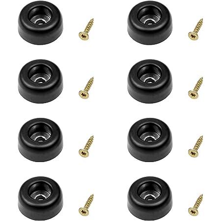 CASCHA - Juego de 8 patas de goma con tornillos para muebles, estantes, estuches, topes de puerta, estuches de vuelo, atornillables, color negro