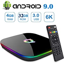 Android 9.0 TV Box,Gimibox Q Plus Android Boxes with 4GB RAM 32GB ROM Quad-core H6 Support 6K Full HD Wi-Fi 2.4Ghz USB 3.0 H.265 Decoding Smart TV Box