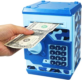 HUSAN Great Gift Toy for Kids Code Electronic Piggy Banks Mini ATM Electronic Save Money Coin Bank Box for Children Password Lock case (Camouflage Blue)
