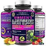 Women's Immune Support Booster Supplement [7-in-1] with Elderberry, Vitamin C, Zinc, Garlic, Echinacea, Turmeric & Vitamin B. Vegan, Free of GMO, Soy, Dairy & Fillers, 60 Caps