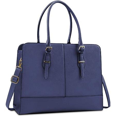 Lubardy Handtasche Damen Shopper Damen Groß Wasserdicht 15.6 Zoll Leder Laptop Tasche für Büro Arbeit Business Schule Blau