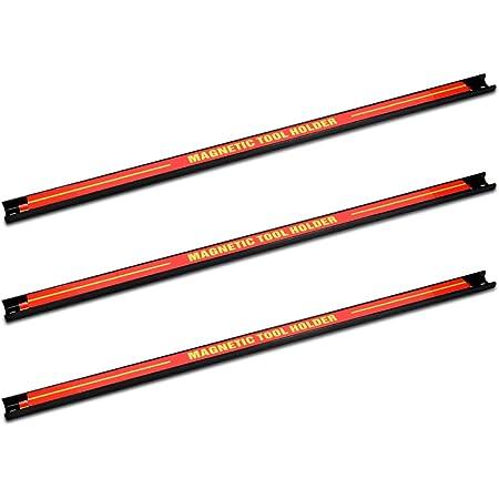 Navaris Imanes para herramientas - 3x Barra magnética para herramientas 60.5 x 2.3 CM - Set bandas imantadas para cocina garaje jardín y taller