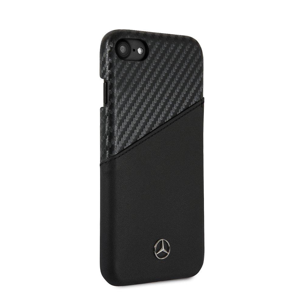 para iPhone 8 7 6 6s Oficial Mercedes-Benz Genuino cuero duro caso Negro