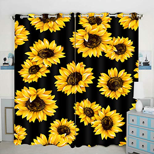QH Seamless Sunflower Background Window Curtain Panels Blackout Curtain Panels Thermal Insulated & Light Blocking 42W x 84L inch (Set of 2 Panels)
