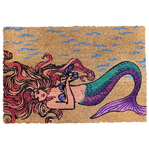 "World Buyers Decorative Coconut Fiber-Coir Rubber Door Mat Non-Slip Floor Mat Indoor and Outdoor Rug Area Carpet 23.62"" x 15.75""L (Mermaid)"