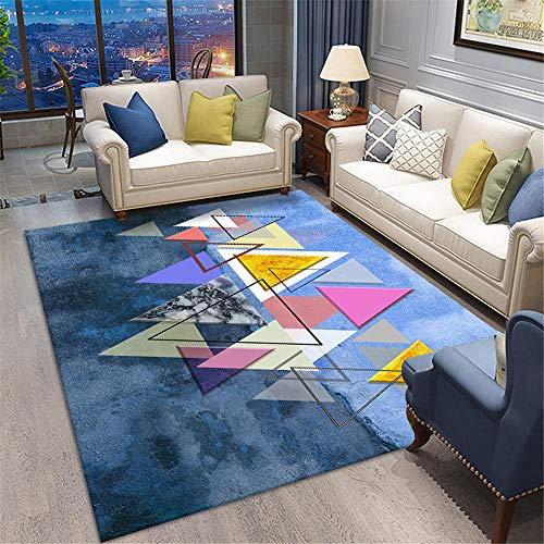 Kunsen Office Carpet Blue triangle puzzle design, bedroom living room carpet is soft and easy to care for Soft Carpet Living Room Rugs Extra Large blue 160X230CM