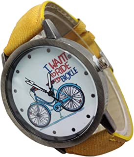 Watch, PU Denim Strap Vintage Watch Denim Bicycles Male And Female Students Couple Table