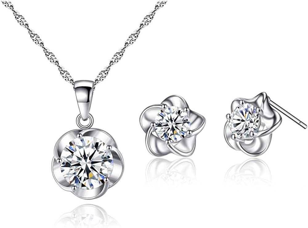 Zhang Trading Co., Ltd. White Gold Plated Plum-Flower Necklace+Stud Earring Set