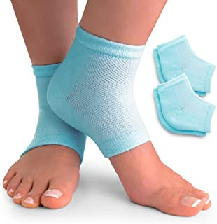CareMe+ Moisturizing Socks for Cracked Heel & Dry Feet Treatment Overnight Spa - Finally Softening Dry Cracked Heels - Super Comfortable Vented Cotton Heel Gel Socks - (2 Pack, Blue)