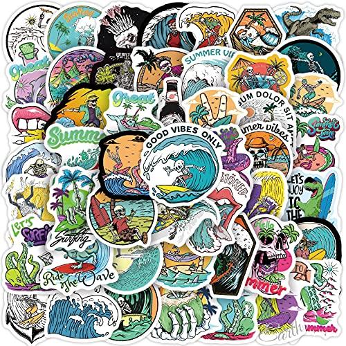 JZLMF 50pcs Fun Summer Skull Surf Sticker Beach Tour Graffiti Surf Sticker tavola da Surf Laptop Car Bike