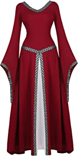 Womens Deluxe Medieval Victorian Costume Renaissance Long Dress Costumes Irish Over Cosplay Retro Gown