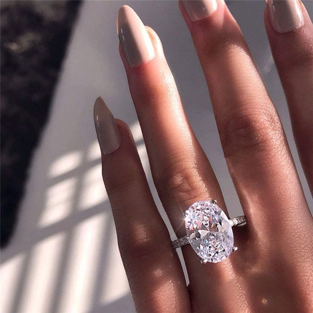 Rubyyouhe8 Big Oval Cubic Zirconia Plated Finger Ring,Jewelry Ring Love Rings Band Ring Jewelry for Party Meeting Dating Wedding Birthday Valentines Day