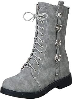 AbbyAnne Women Vintage Block Heels Martin Boots Lace Up