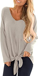 For G and PL Women's V Neck Long Sleeve Tie Front Tops Waffle Knit Blouse